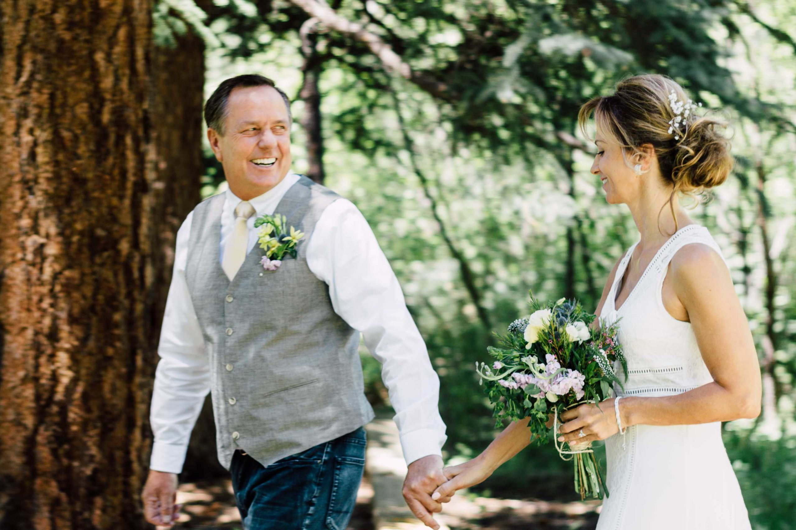 couple walking during outdoor wedding