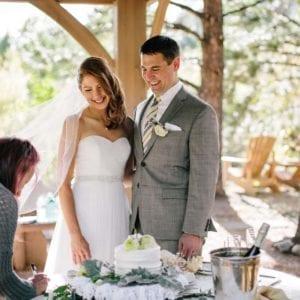 wedding couple smiling