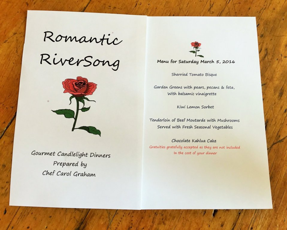 dinner menu by Carol Graham
