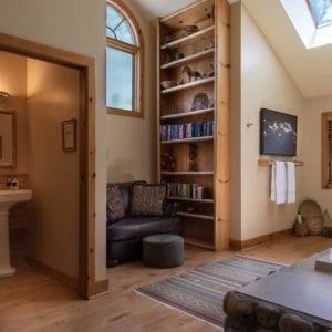 meadow bright reading nook and bathroom