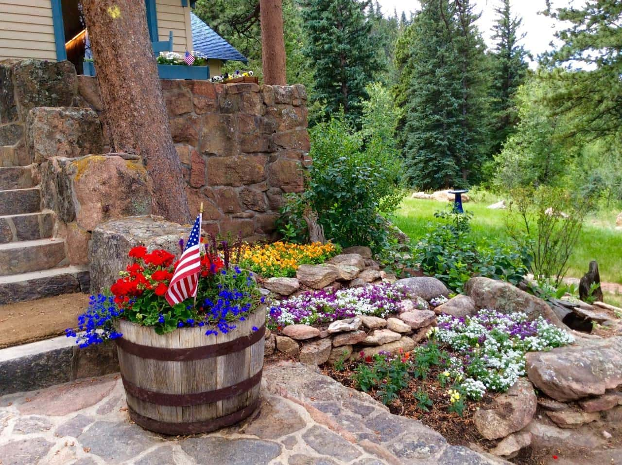 flower beds and pots at the Inn