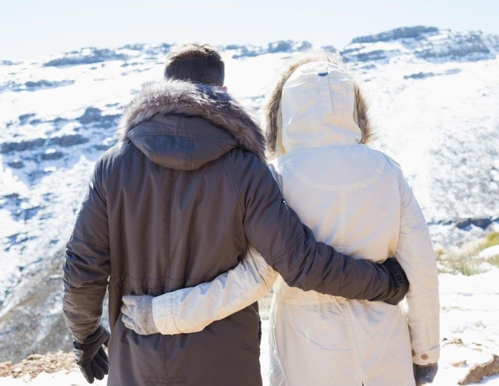 Couple enjoying winter